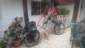 A traveler's special bicycle, La Libertad, Ecuador